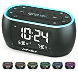 Buffbee Bedside Alarm Clock Radio with 7 Color Night Light,Dual Alarm, Snooze, Dimmer, USB Charger, Nap Timer, Digital Alarm Clock with FM Radio and Auto-Off Timer,Mains Powered with Battery Backup