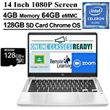 2020 Newest HP Chromebook 14 Inch FHD 1080P Laptop with Webcam, Intel Celeron N4000 up to 2.6 GHz, 4GB RAM, 64GB eMMC, Webcam, WiFi 5, Chrome OS + NexiGo 128GB MicroSD Card Bundle