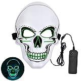 Queta LED Máscara de Calavera Halloween, con Luz fría de LED, Máscara de terror de fiestas, para Navidad/Halloween/Cosplay/Grimace Festival/Fiesta Show/Mascarada (azul + verde)
