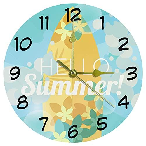 Reloj de pared de verano con tabla de surf y decoración para el hogar, acrílico, 9,85 pulgadas, reloj de pared sin garrapatas