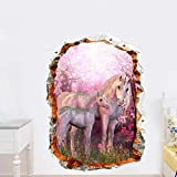 LING YUN Co,Ltd Pegatinas De Pared De Unicornio De Flor De Cerezo Rosa Roto para Habitaciones De Niños, Sala De Estar, Dormitorio De Bebé, Decoración, Papel Tapiz, Mural, 50X70Cm