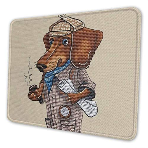 Dackel hässlicher Hund Retro FUUNY Art Gaming Mauspad mit genähten Rand Computer PC Mousepad Neopren Basis für Office Home