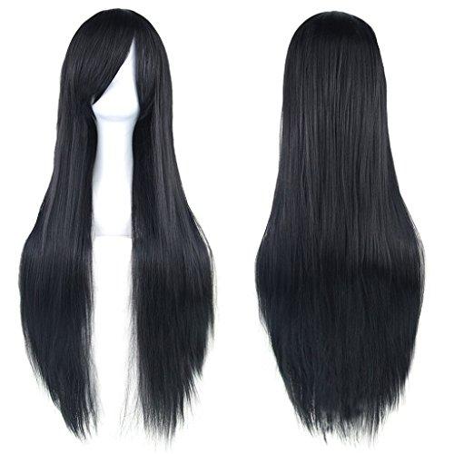 Peluca larga y lisa de 81,28 cm para disfraz, pelo sinttico con pinzas oblicuas, para Halloween, cosplay, fiestas de chicas. Con redecilla para peluca.