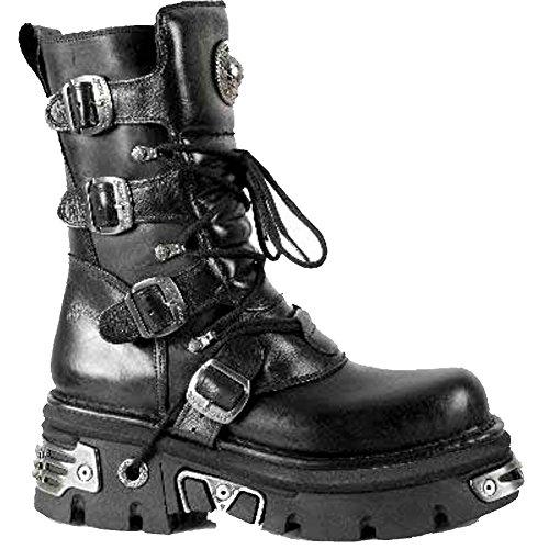 NEWROCK New Rock M.373 S4 Metallic Boots Black Leather Goth Biker Emo Fashion 9