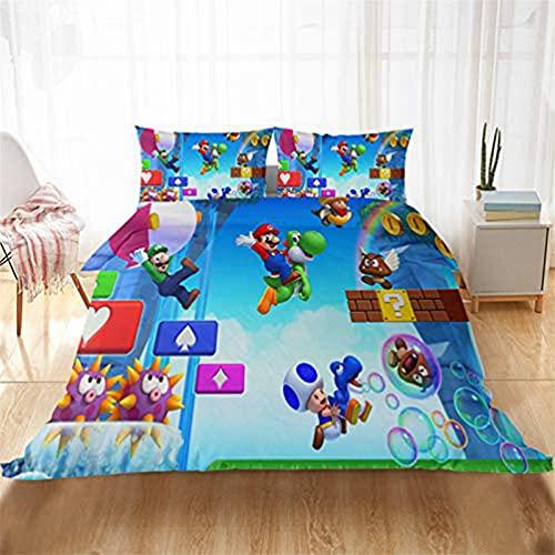 Super M-ario Games - Juego de funda de edredón para cama individual, doble y King, diseño de dibujos animados para niños con cremallera, 100% microfibra para regalo de niños y adultos (D,140 x 210)