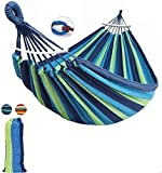 Baskety Camping Hammock Double & Single Portable Hammocks with 2 Hanging Ropes Hammock with Carrying Bag for Patio Porch Garden Backyard Lounging Outdoor/ Indoor Hammock (Blue, Wooden Stripe 280*100)