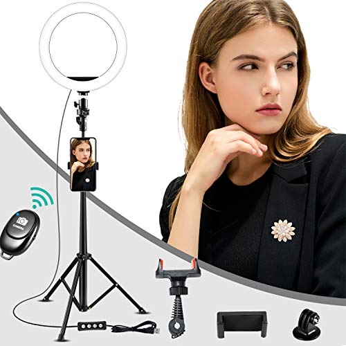 10 Inch Selfie Ring Light iPhone Tripod with Remote, 2700K-5500K Dimmable 3 Color Modes & 10 Brightness USB Powered Desk Selfie Makeup Ring Light for Live Streaming, YouTube,TikTok, Video Shooting