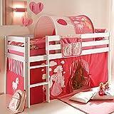 Jugendmöbel24.de Tunnel + Bett-Tasche 100% Baumwolle Stofftasche Baldachin Dach Bettdach Himmel für Hochbett Spielbett Etagenbett Kinderbett Kinderzimmer pink - 2