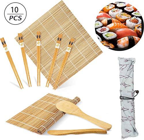Kit para Hacer Sushi de Bambú,10Pcs Kit de Fabricación de Sushi de Bambú