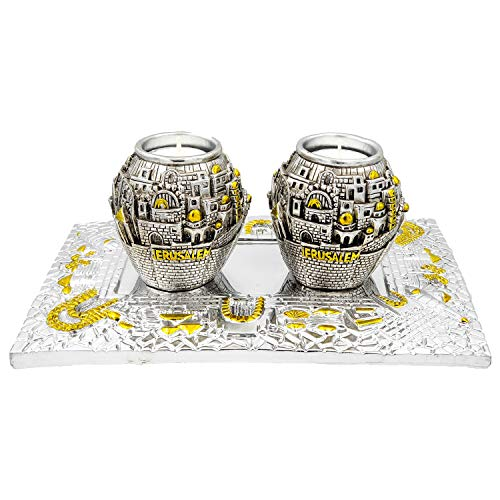 The Dreidel Company Shabbat Candlesticks Candle Holders Silver and Gold Plated with Beautiful Tray