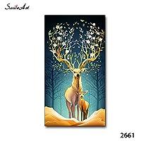 ZNLEY.O HDプリントエルク動物キャンバス絵画アートポスターとプリント壁の写真のための居間の装飾的な写真のための写真 (Color : A, Size (Inch) : 60X120cm No Frame)