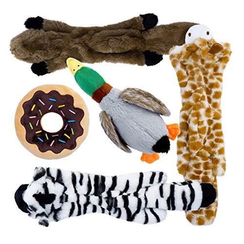 Toozey 5 Paquete de Juguetes con Sonido para Perros, Sin Relleno y Rellenos - Juguetes para Masticar Perros Seguros y No Tóxicos para Pequeños Medianos ✅
