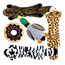 Toozey Squeaky Dog Toy - Three Fill-free Puppy Toys and Two Plush Toys with Stuffing - Plush Puppy Dog Toys for Small and Medium-sized Dogs - 5 PCS