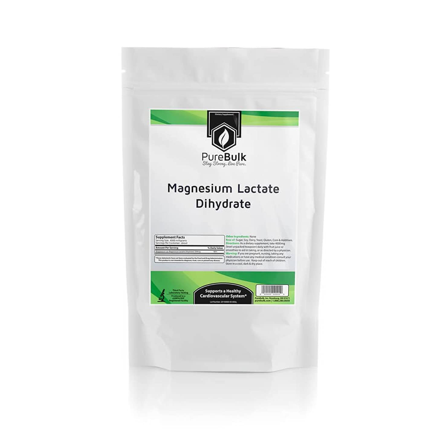 PureBulk Magnesium Lactate Dihydrate Container:Bag Size:1kg Powder