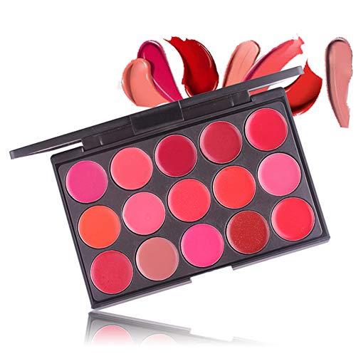 Shogpon 15 Colores Paleta de Brillo Labial Crema Mate Lápiz Labial Maquillaje...