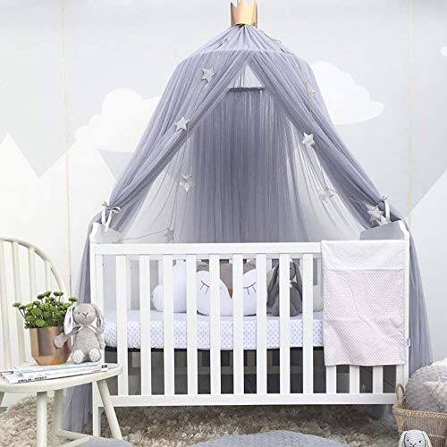 Kids Baby Bedding Dome Opknoping Klamboe Bed Canopy Gordijn Dream Tent Dome for babybed Kids Room Decor, Blauw, 50 * 200cm QIANGQIANG (Color : Gray, Size : 50 * 200CM)
