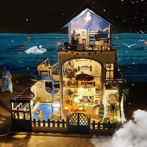 Kit de casa de muñecas en miniatura con accesorios para muebles Regalo creativo para amantes y amigos (mar Egeo) con cubierta a prueba de polvo y movimiento musical - Kit de modelo de arquitectura