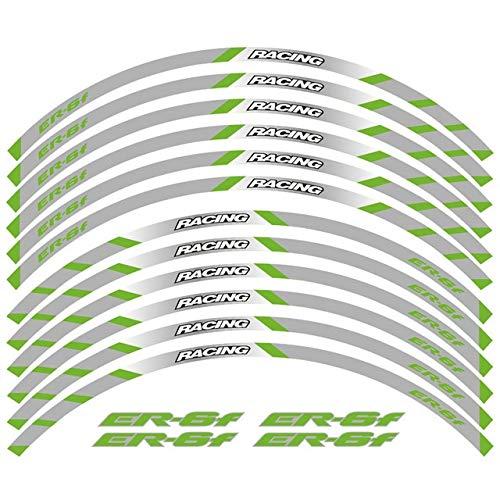 SUSHANCANGLONG Un juego de 12 pegatinas reflectantes impermeables para llantas Kawasaki ER6F (color: verde 2)