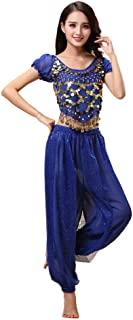 Hzjundasi Womens Belly Dance Costume Set - Dancing Top + Lantern Pants Professional Carnival Dancer Outfit Suit
