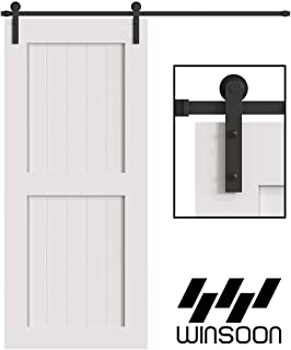 WINSOON 5/6/8/10/12/13/15/16FT Black Straight Design Sliding Roller Barn Single Wood Door Hardware Closet Track Kit Set (5FT Single Door Kit)