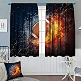 Brccee AC Sports Decor Collection Window Curtain Drape Football on Fire and Water Flame Splashing Thunder Lightning Abstract Print Decorative Curtains for Living Room 52'x63' Navy Orange Peru White