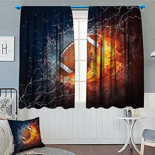 "Brccee AC Sports Decor Collection Window Curtain Drape Football on Fire and Water Flame Splashing Thunder Lightning Abstract Print Decorative Curtains for Living Room 52""x63"" Navy Orange Peru White"