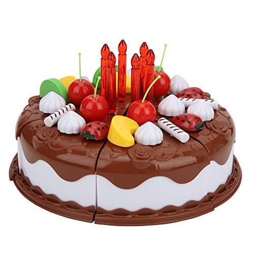 Longzhuo Juguete de Pastel de Bricolaje, simulación de Pastel de cumpleaños de Bricolaje, Juego de simulación, Juguete Educativo para niños para niñas de niños(Chocolate)