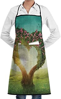 EMODFJCXZ Custom Apron Love Decor Collection Heart Shaped Tree in The Meadow Grassland Wildflowers Enchanted Fairytale Image Unisex W20 x L28 Green Teal Pink Ivory
