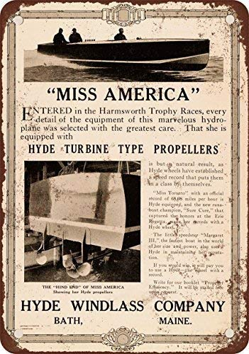 SIGNCHAT 1920 Hyde Turbine Boat Propellers Metal Tin Sign 8 x 12 Inches