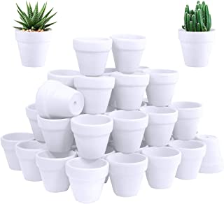 60 Pcs White Terra Cotta Pot - 2.5 Inch Tiny Mini Clay Pots with Drainage Holes Flower Nursery Terra Cotta Pots for Succulent Plants, Crafts, Wedding Baby Shower Favor