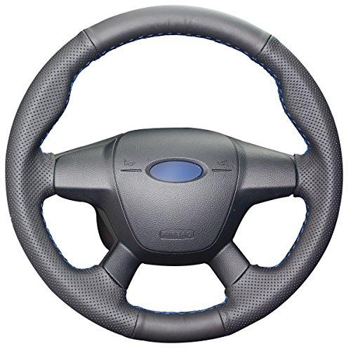 MEWANT - Funda para volante de coche de piel auténtica para Ford Focus 2012-2014, Escape 2013-2016,