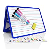 Magnetic Desktop Small whiteboard with Lines, Dry Erase Board Double Sided, Dry Erase Board for Kids, Portable Small Whiteboard for School, Perfect for Online Learning and Virtual Learning (Blue)