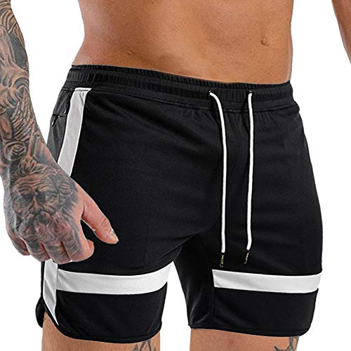 EVERWORTH Men's Gym Quick Dry Workout Shorts Fitted Bodybuilding Short Breathable Training Running Shorts with Zipper Pockets Black L