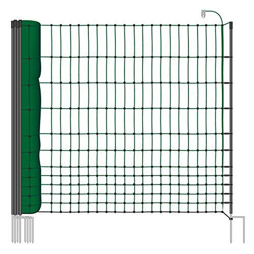 VOSS.farming Rete pollame Classic per recinzioni elettrificabili, 112 cm di Altezza e 25 m di Lunghezza, a Punta Doppia, Dotata di 9 Pali, Colore Verde