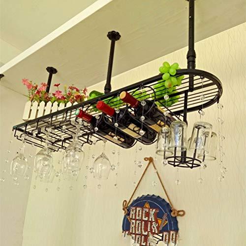 F2 Wijnrek, metaal, kristal, gordijn, wandhouder, creatieve hangen, huishouden, glas, rek, hangen, flessenhouder, instelbaar (zwart) (maat: L) Large