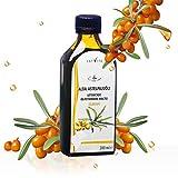 Aceite de espino amarillo (1 prensado en frío, sin refinar) (200 ml x 50 carotinoide), valores de Omega 7 de vitamina A, B, C y E, aceite de omega premium.