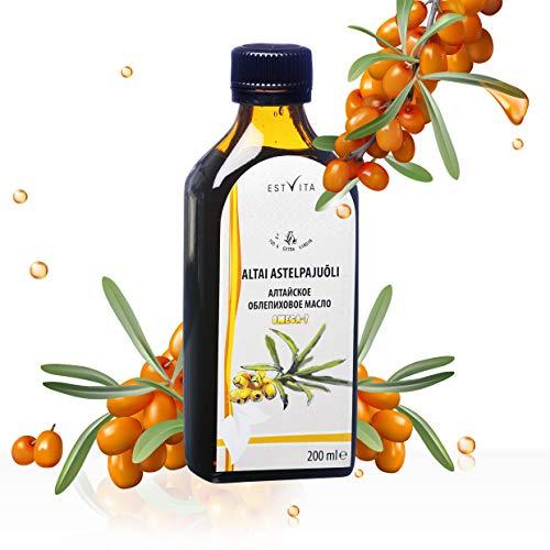 Sanddornöl (1x kaltgepresst, unraffiniert) (200ml x 50 Carotinoid) Omega-7-Werte Vitamin A, B, C und E, Premium-Omega-Öl