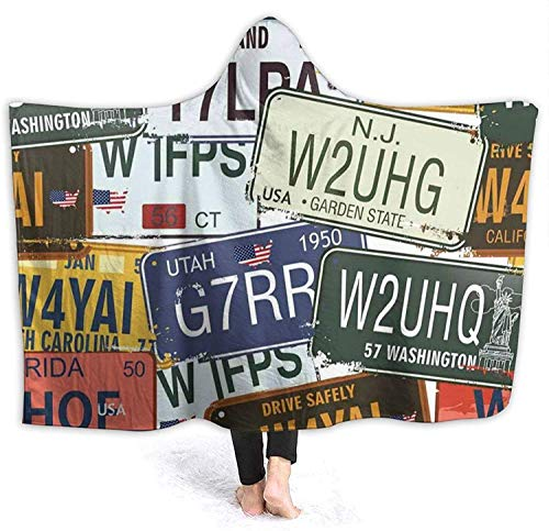 Travel Plate License Plate Hooded Blanket Printed Wearable Blanket Ultra Soft Cozy Thick Throw Blankets Winter Fleece Large Cloak Warm Throw Wrap for School Comping Travel-Black