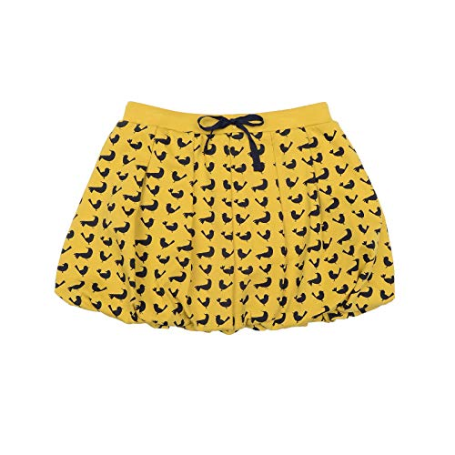 Kidsy Toddler Baby Girls Bird Bubble Skirt – Peruvian Pima Cotton, Balloon Skirt, Elastic Waist, Pull-On – Marigold, 8