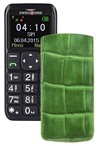 Suncase ECHT Ledertasche Leder Etui für Swisstone BBM 410 Tasche (Lasche mit Rückzugfunktion) in croco-grün