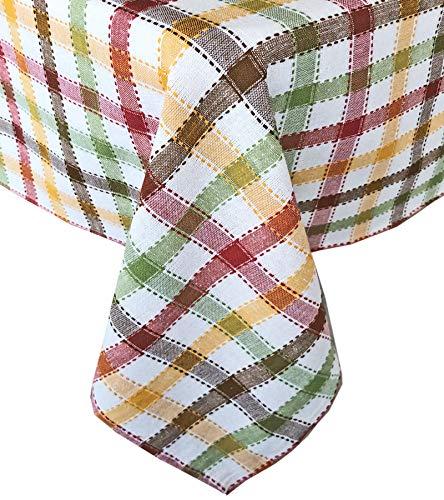 Lintex Farmhouse - Mantel de tela de algodón 100 % a cuadros para otoño y Acción de Gracias - Mantel de algodón de fácil cuidado para cocina y comedor con diseño de cuadros, 152 x 213 cm, rectangular/rectangular