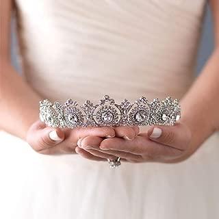 Tgirls Bride Wedding Crowns Bridal Tiara Headpiece Princess Rhinestone Decor Headband for Women and Girls (Silver)