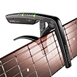 JOWOOM Grabtune Acoustic Guitar Capo-Tuner   2 In 1 Equipment   Precise and Accurate Tuning System   Full Color LED Edge Lighting Display   USB Rechargeable Battery   Chrome Plating (Black)