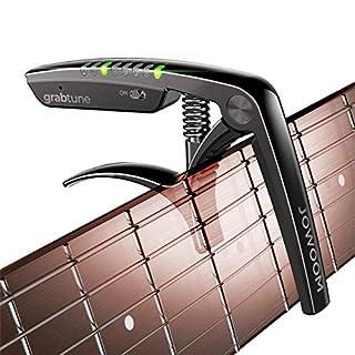 scheda jowoom grabtune - capotasto per chitarra acustica | attrezzatura 2 in 1 | sistema di sintonizzazione preciso e accurato | display a led a colori | batteria ricaricabile usb | cromatura (nero)