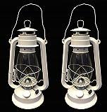 OMNI White Hurricane Kerosene Lantern Wedding Light Table Decorative Lamp 12' (2)