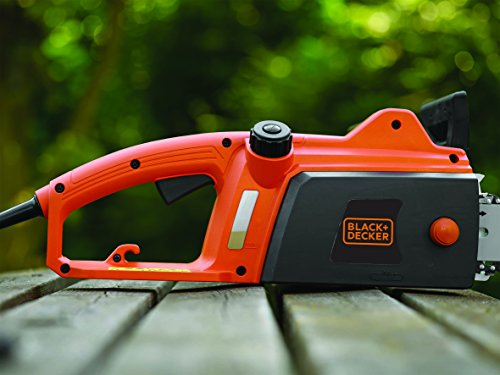 BLACK+DECKER CS1835-QS Tronçonneuse filaire - 12,5 m/s - Réservoir de 100 ml transparent - Griffe 6 dents - Interrupteur double commande 1800W, Orange, 35 cm
