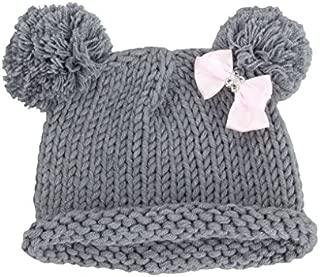 Bestknit Baby Girls Pompom Hat Props Crochet Knitted Pom Pom Hat Bow Beanie