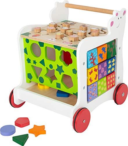 small foot 11841 Lauflernwagen Bär aus Holz, 4-seitiger Spielspaß, ab 1 Jahr, mehrfarbig
