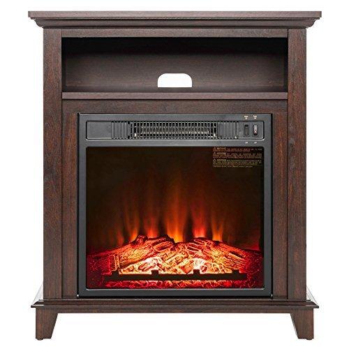 AKDY 27' Electric Fireplace Freestanding Brown Wooden Mantel Firebox 3D Flame w/Logs Heater