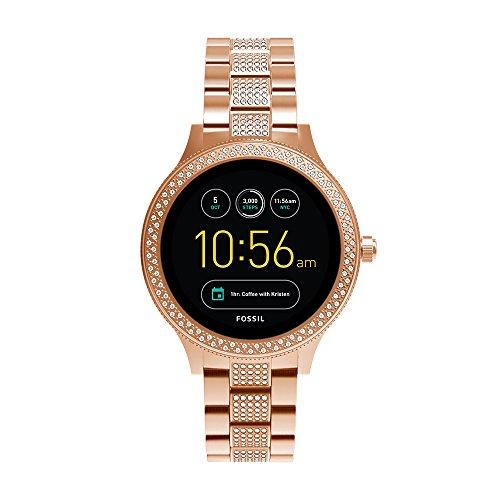 Fossil Damen Smartwatch Q Venture 3. Generation - Edelstahl, komplett roségold mit glitzer